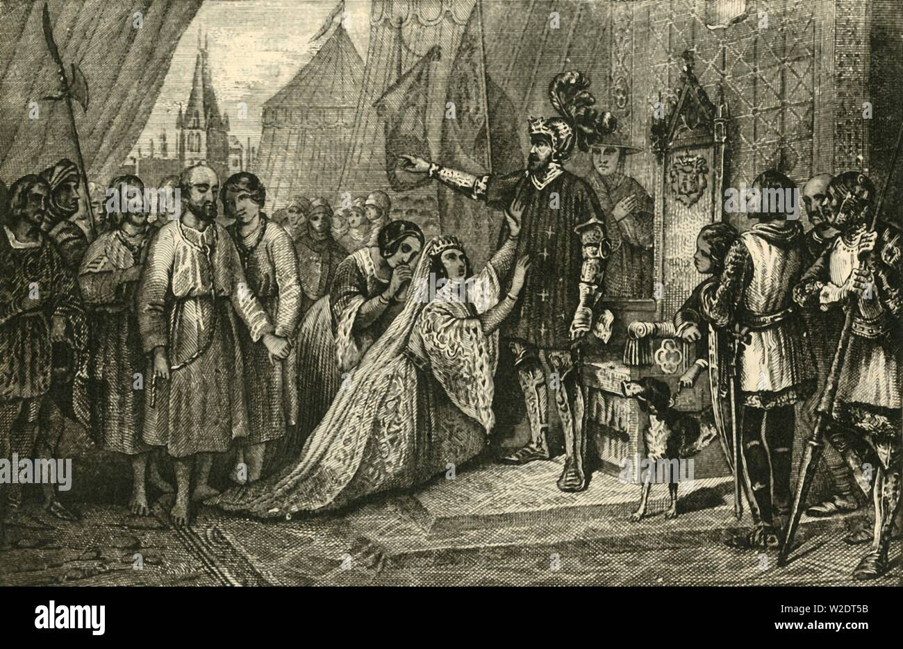 """'Queen Phillippa Interceding for the Citizens of Calais', (1347), 1890. Philippa of Hainault successfully persuaded her husband King Edward III to spare the lives of the Burghers of Calais during the Hundred Years War. From """"Cassell's Illustrated Universal History, Vol. III - The Middle Ages"""", by Edmund Ollier. [Cassell and Company, Limited, London, Paris and Melbourne, 1890. ] - Stock Image"""