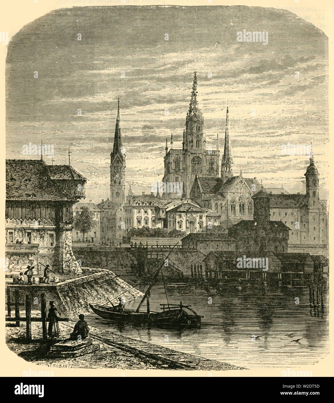 "'Constance', 1890. Konstanz Cathedral in Konstanz on the river Rhine flowing into Lake Constance, by the late Middle Ages,about a quarter of inhabitants were exempt from taxation on account of clerical rights. In 1192, Konstanz gained status of Imperial City subject only to the Holy Roman Emperor. From ""Cassell's Illustrated Universal History, Vol. III - The Middle Ages"", by Edmund Ollier. [Cassell and Company, Limited, London, Paris and Melbourne, 1890. ] - Stock Image"
