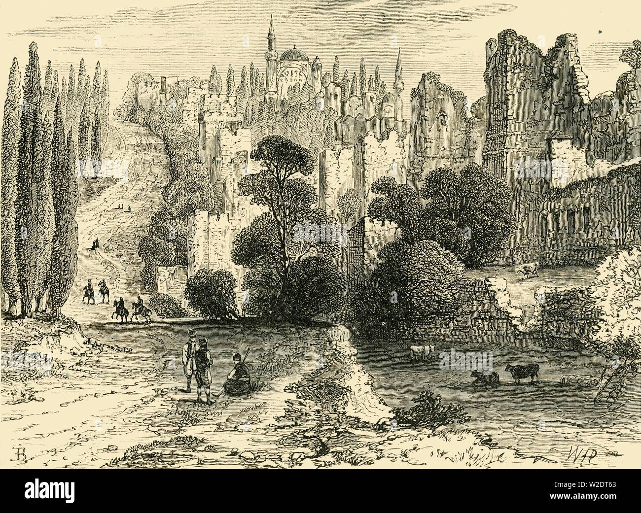 """'Walls of Constaninople in the Sixteenth Century', (1890). Known as Istanbul today, Constantinople was capital of the Byzantine Empire, until Muslim conquest in 1453 when it became capital of the Ottoman Empire, the population grew to 700,000 in the 16th century. From """"Cassell's Illustrated Universal History, Vol. III - The Middle Ages"""", by Edmund Ollier. [Cassell and Company, Limited, London, Paris and Melbourne, 1890. ] - Stock Image"""