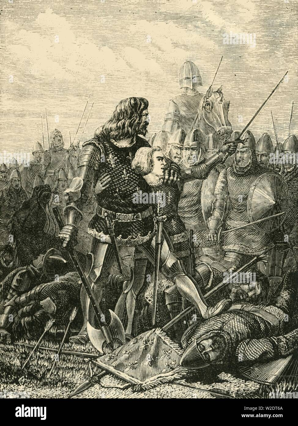 """'King John at Poitiers', (1356), 1890. John II of France (1319-1364), surrounded and captured by the French army of Edward the Black Prince at the Battle of Poitiers in 1356 during the Hundred Years War. From """"Cassell's Illustrated Universal History, Vol. III - The Middle Ages"""", by Edmund Ollier. [Cassell and Company, Limited, London, Paris and Melbourne, 1890. ] - Stock Image"""