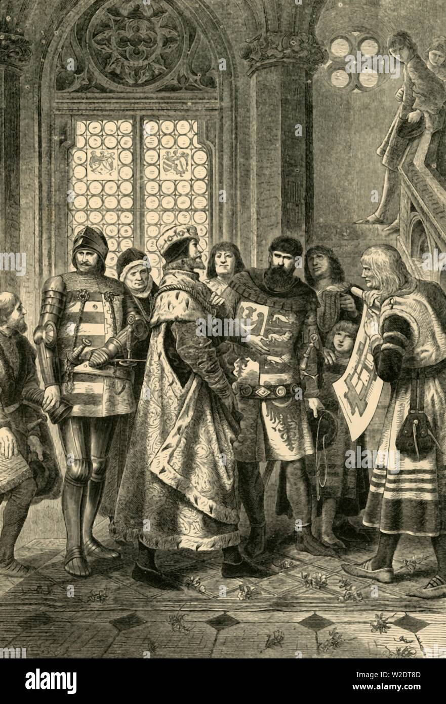 """'Duke Rudolf IV as Founder of the Stephen Cathedral', (c1360), 1890. Rudolf IV, Duke of Austria (1339-1365) House of Habsburg with plans for St. Stephen's Cathedral, Vienna. From """"Cassell's Illustrated Universal History, Vol. III - The Middle Ages"""", by Edmund Ollier. [Cassell and Company, Limited, London, Paris and Melbourne, 1890. ] - Stock Image"""