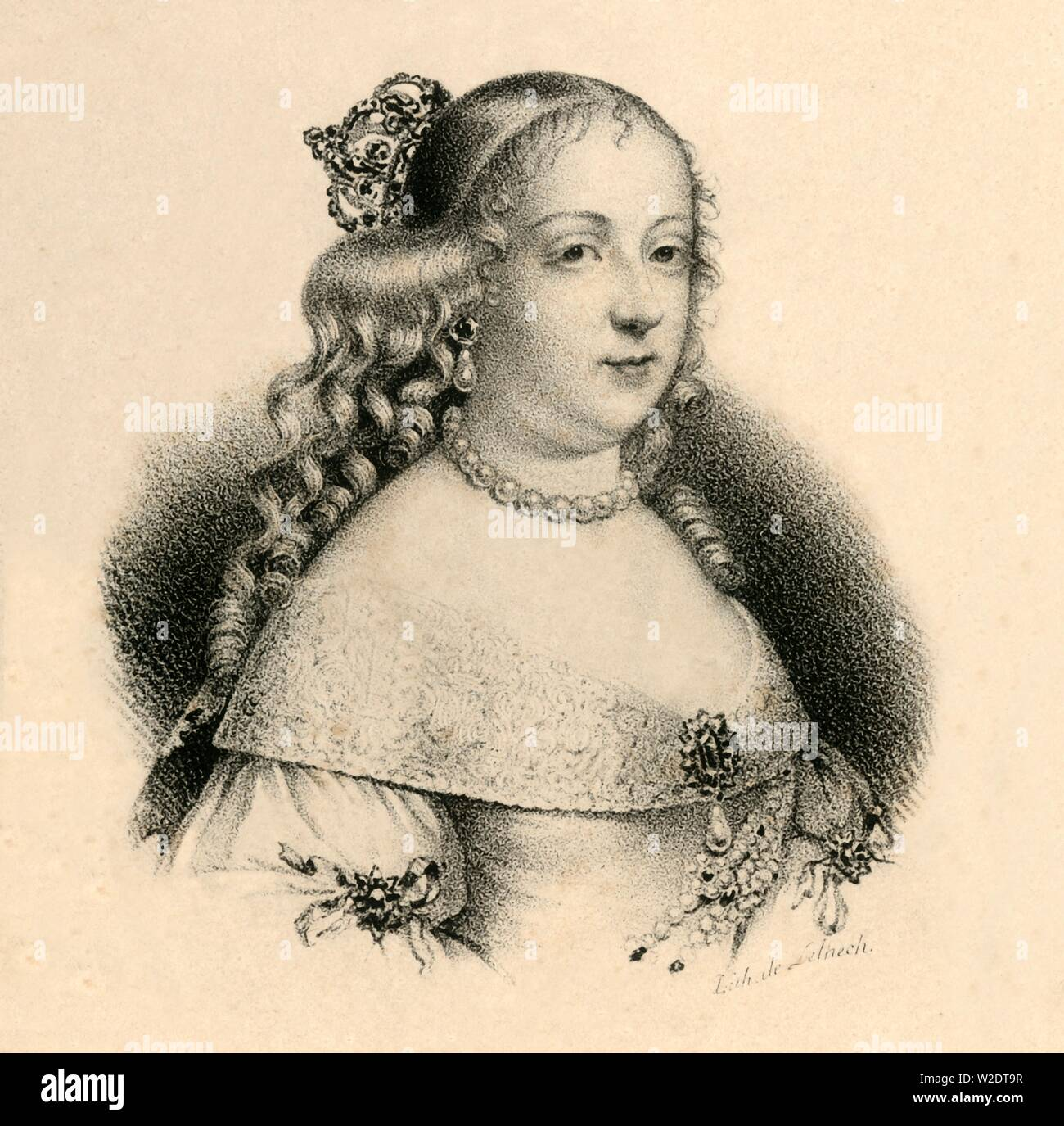 """'Marie Therese d'Autriche', (1717-1780), c1830. Maria Theresa (1717-1780) from the House of Habsburg was Holy Roman Empress and German Queen. From """"Lith de Delpech"""". [Delpech, Paris] - Stock Image"""