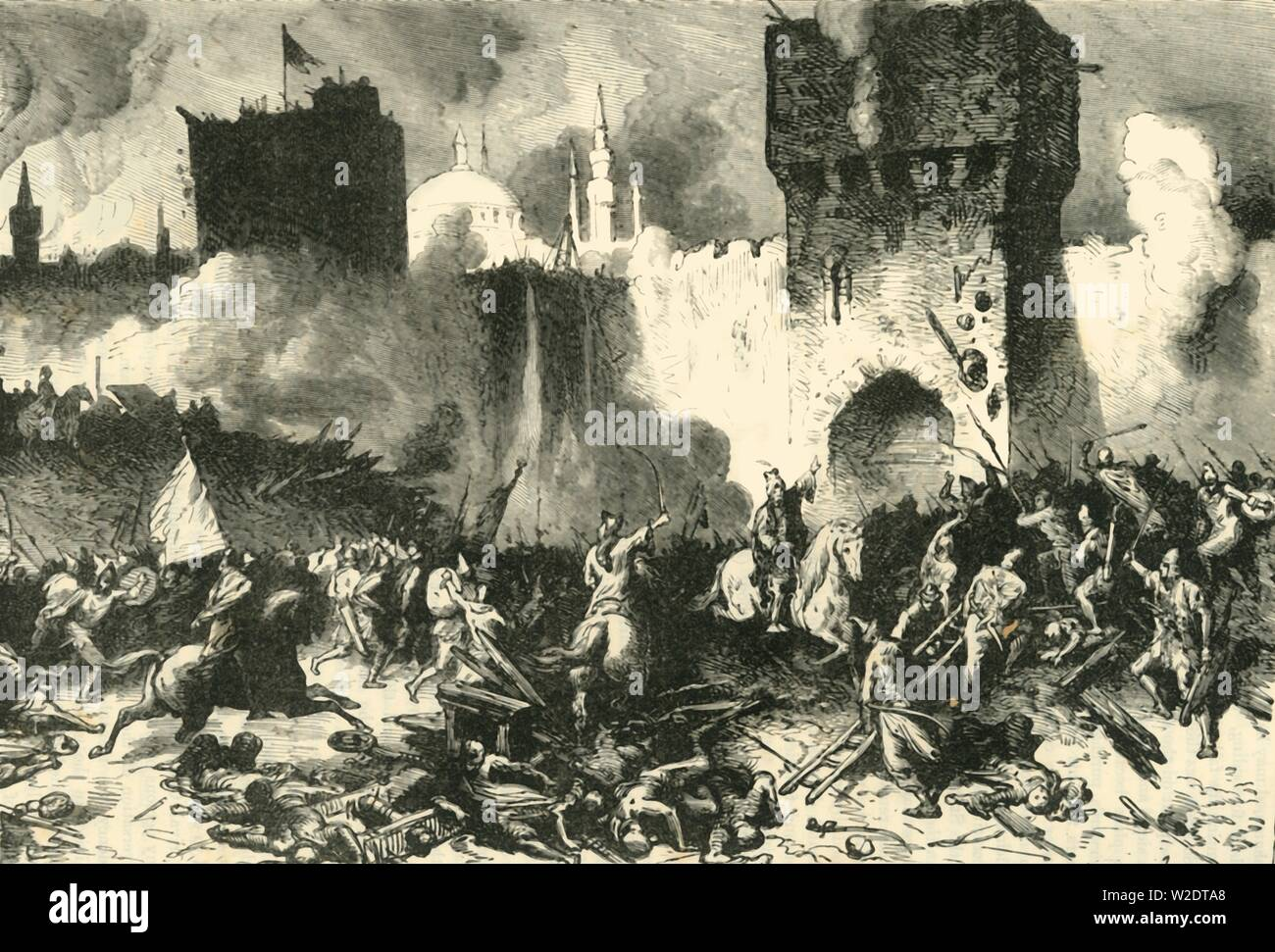 """'The Final Assault on Constantinople', (29 May 1453), 1890. The Fall of Constantinople - capture of the Byzantine Empire's capital under Constantine XI Palaiologos by an invading Ottoman army under Sultan Mehmed II, on 29 May 1453.   From """"Cassell's Illustrated Universal History, Vol. III - The Middle Ages"""", by Edmund Ollier. [Cassell and Company, Limited, London, Paris and Melbourne, 1890. ] - Stock Image"""