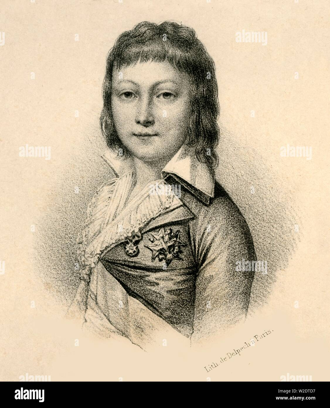 """'Louis XVII', (1785-1795), c1830. Louis XVII (1785-1795) son of Louis XVI and  Marie Antoinette, became heir apparent and Dauphin of France in 1789, and """"King of France"""" on the execution of his father on 21 January 1793, during the French Revolution. From """"Lith de Delpech"""". [Delpech, Paris] - Stock Image"""