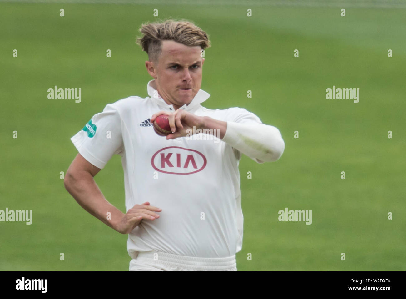 London, UK. 8th July, 2019. Sam Curran bowling for Surrey against Kent on day two of the Specsavers County Championship game at the Oval. Credit: David Rowe/Alamy Live News Stock Photo