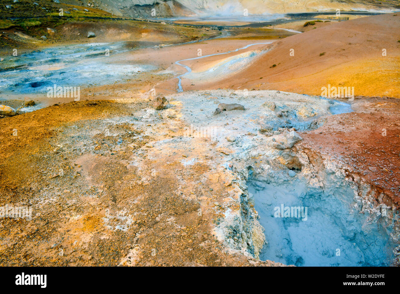 Fumarole field in Namafjall, Iceland. - Stock Image