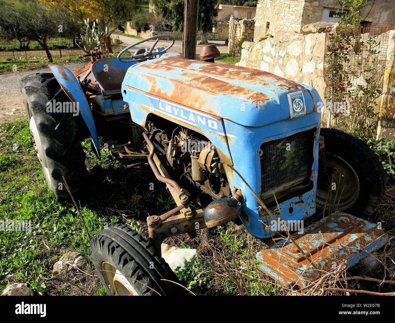 Weathered Leyland tractor. Stock Photo
