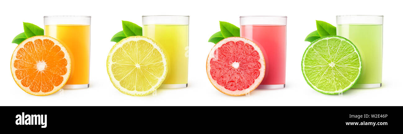 Isolated citrus fruit juices. Glasses of orange, lemon, lime and grapefruit drinks and one slice of fruit isolated on white background with clipping p Stock Photo