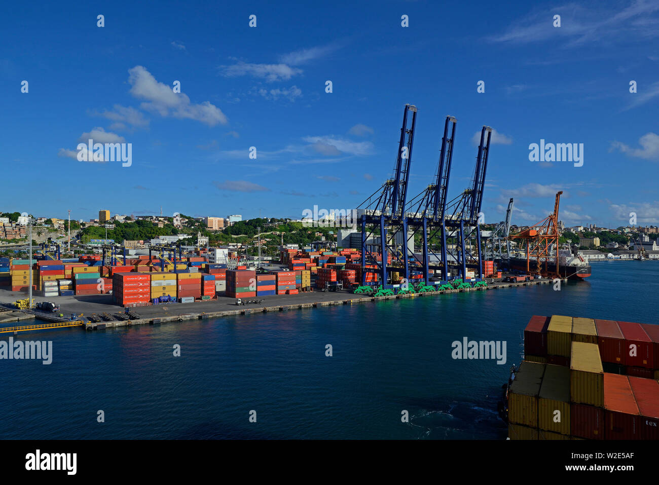 slvador bahia, brazil - february 15, 2014:  panoramic view onto  salvador bahia  tecon wilson sons container terminal from an arriving containership - Stock Image