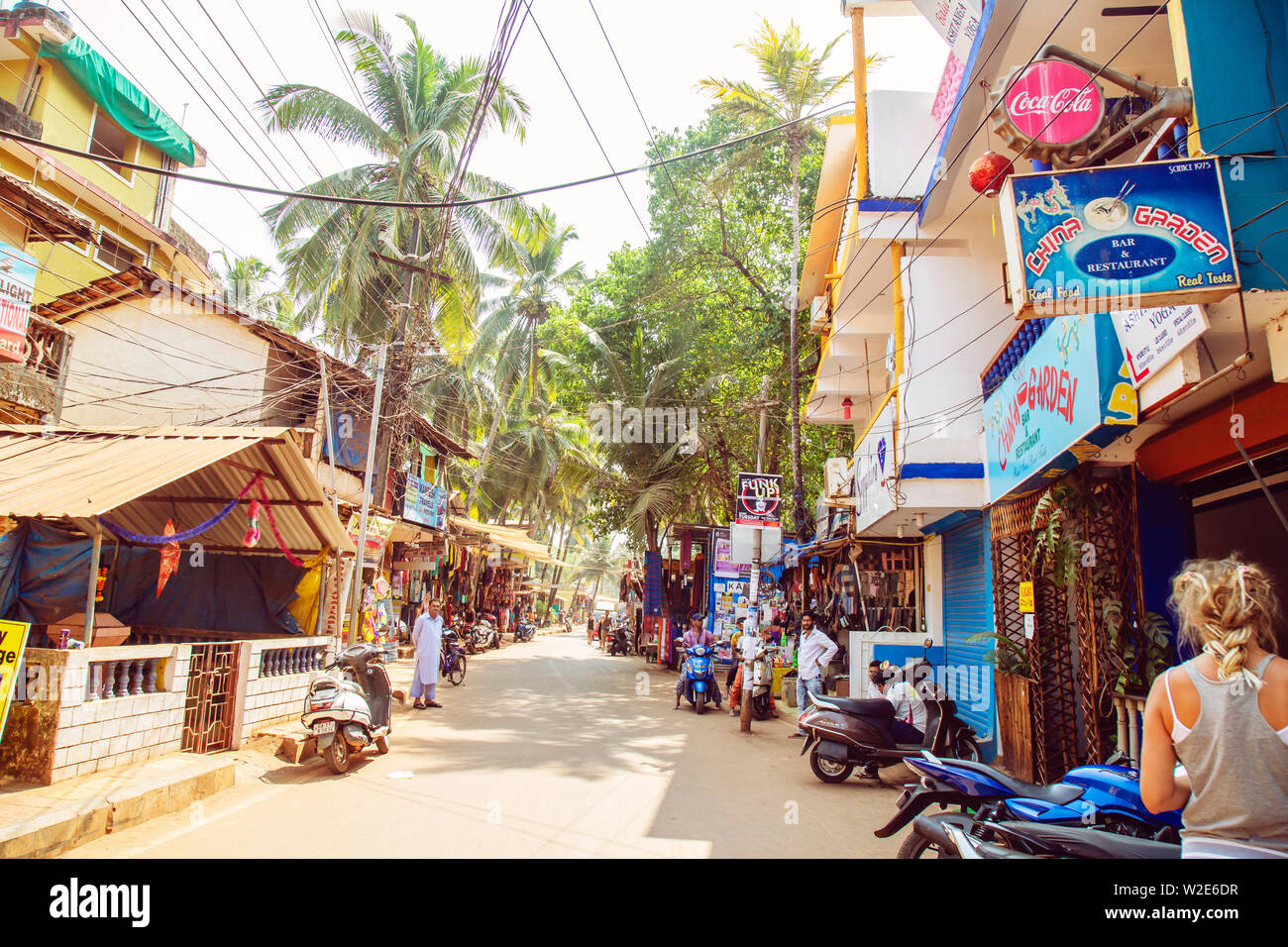 Arambol, Goa in India, February 1, 2019: Busy Street in Arambol - Stock Image