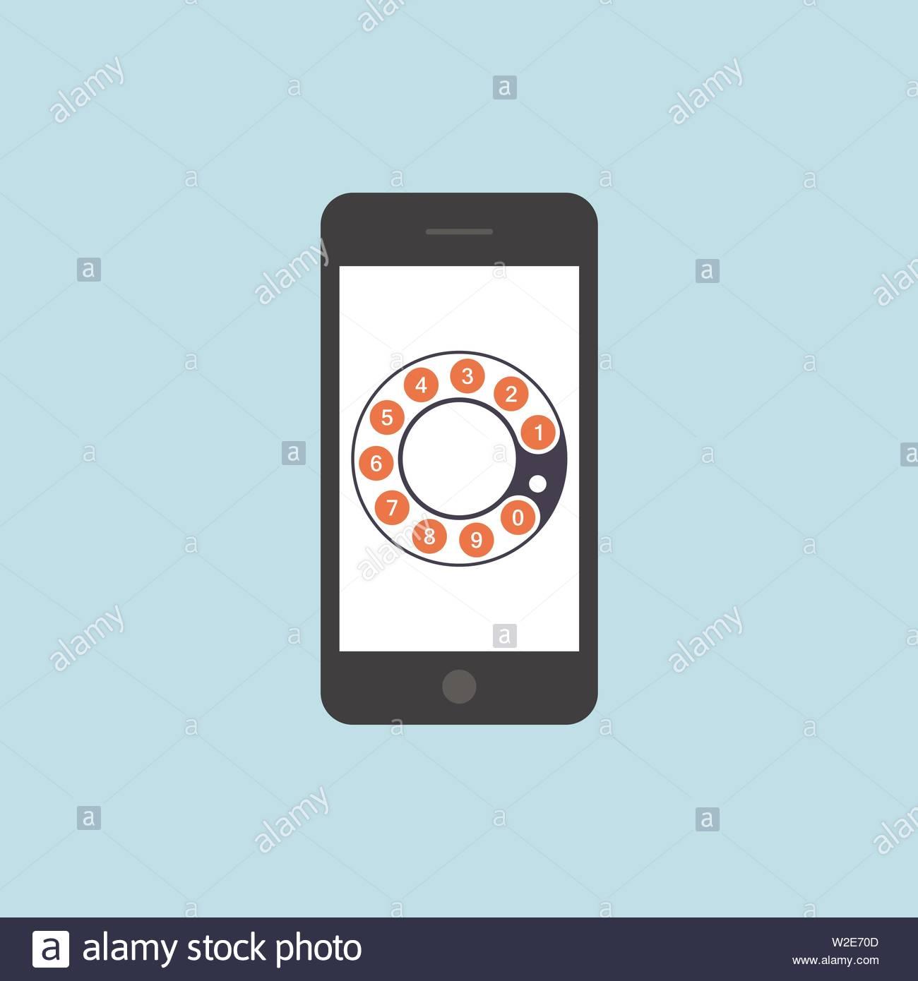 Keypad on smartphone screen. Mobile phone call. Flat vector illustration - Illustratio - Stock Image