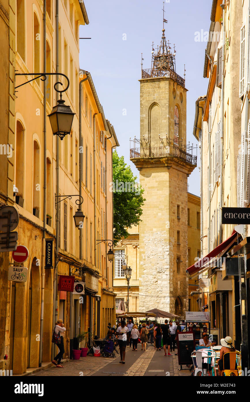 Tower Of Hotel De Ville In Aix En Provence Street View Aix Is A City And Commune In Southern France Stock Photo Alamy