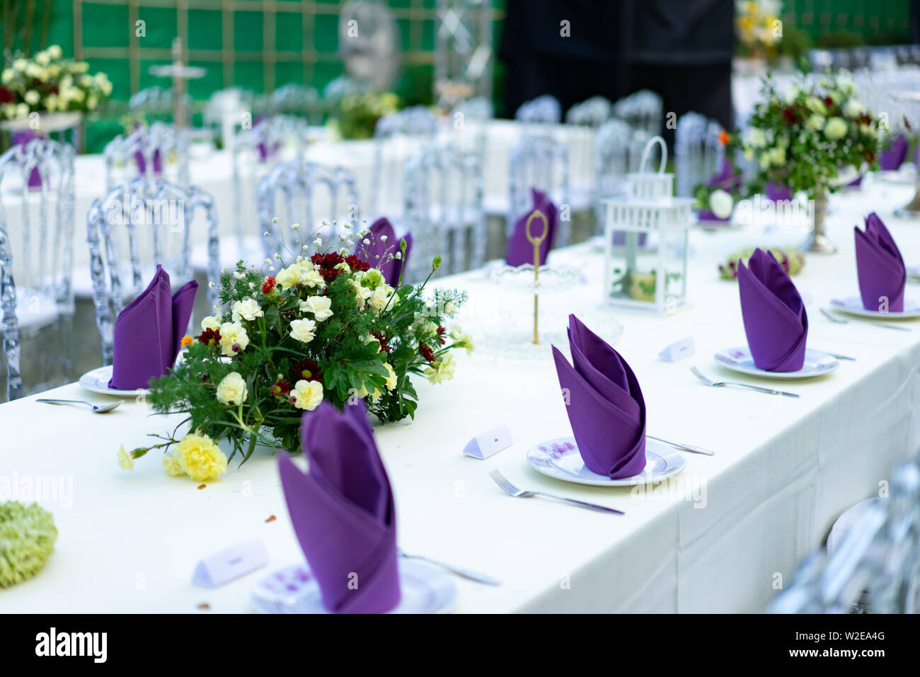 Luxury White Purple Red Dinner Table Set With Crystal Chair In The Garden Stock Photo Alamy
