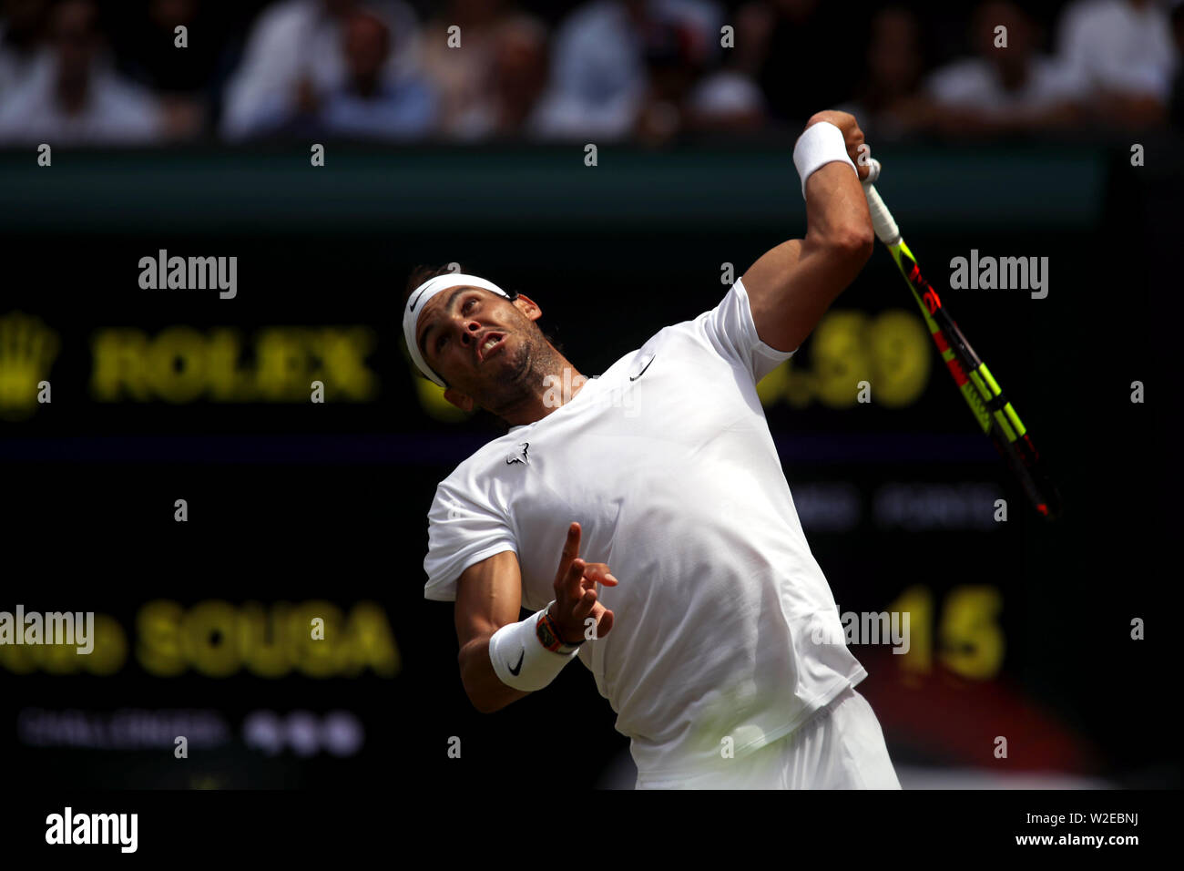 Wimbledon, London, UK. 8th July, 2019. Rafael Nadal serving to Joao Sousa during their fourth round match against at Wimbledon today. Credit: Adam Stoltman/Alamy Live News Stock Photo