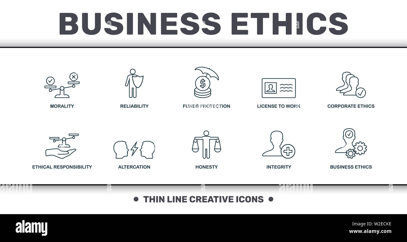 Business Ethics icons set collection. Includes creative elements such as Morality, Reliability, Funds Protection, License To Work, Corporate Ethics, A - Stock Image
