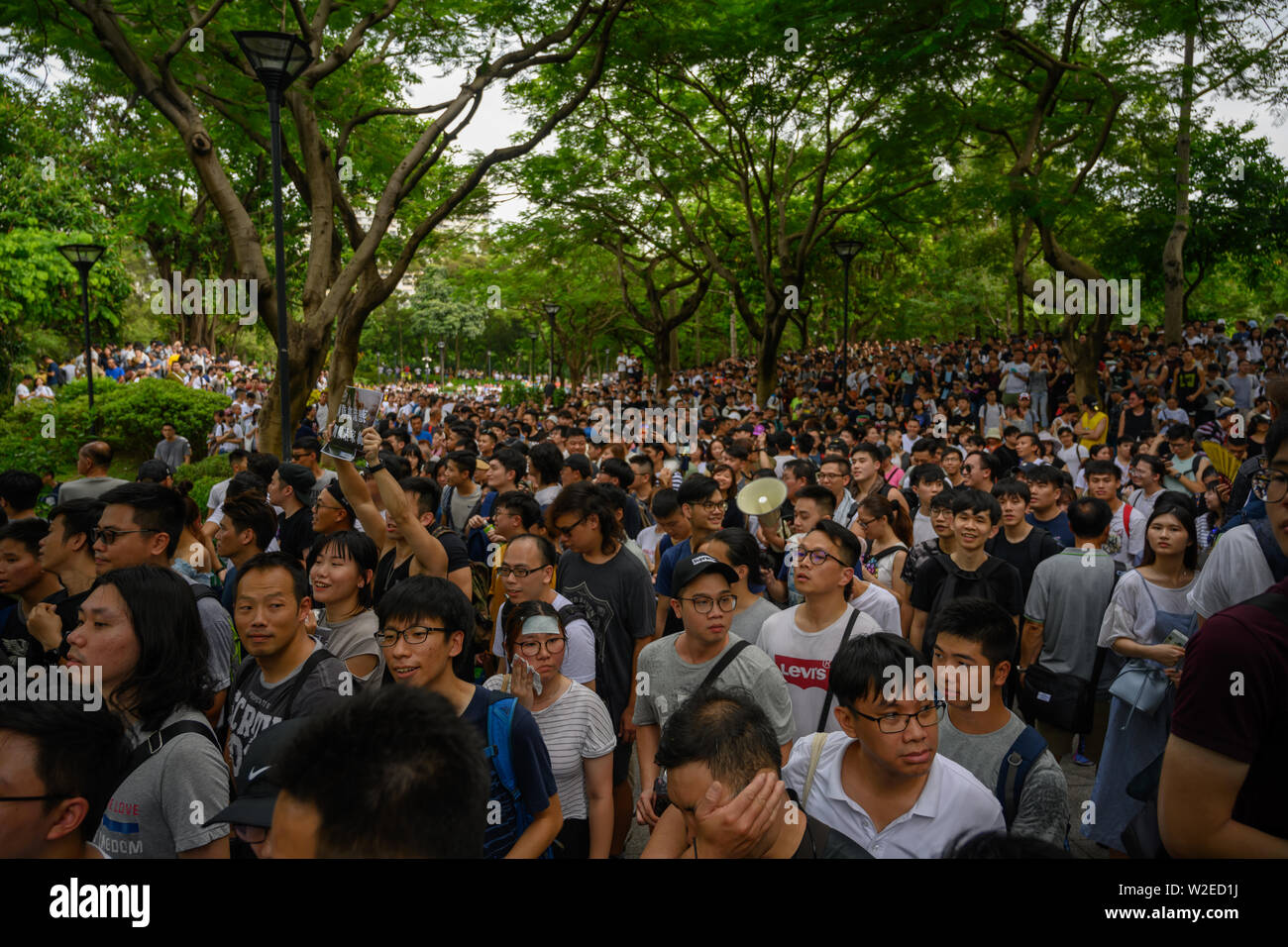 Tuen Mun, Hong Kong - July 6 2019: the crowd protest and occupy the Tuen Mun public park. The protesters took to the streets of Hong Kong to oppose a - Stock Image