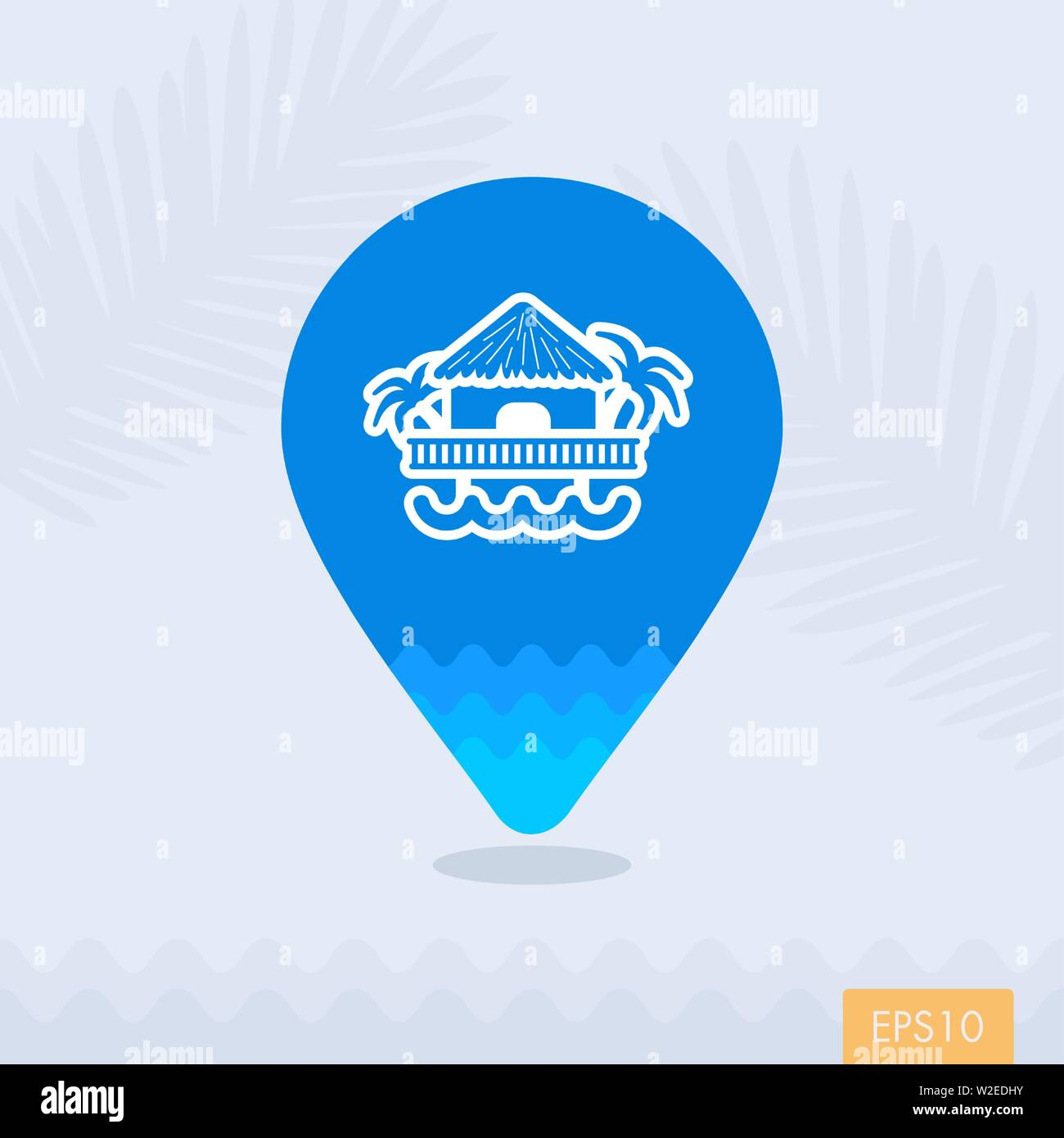 Bungalow with palm trees vector pin map icon. Beach Map pointer. Summer Map markers. Summertime. Vacation, eps 10 Stock Vector
