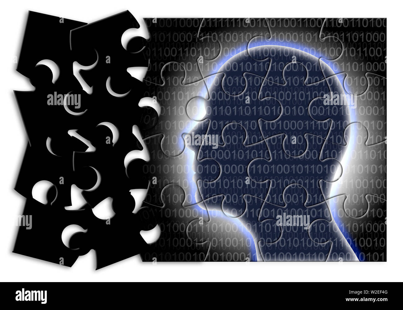 Futurustic artificial intelligence - concept image in jigsaw puzzle shape - Stock Image