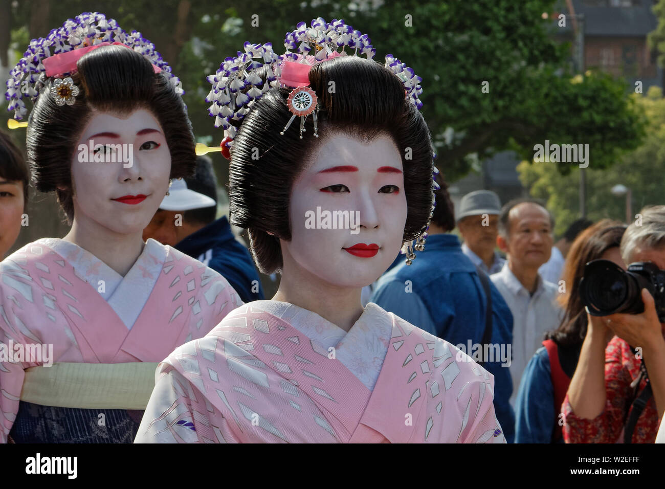 TOKYO, JAPAN, May 18, 2019 : Geishas during Sanja Matsuri, one of the great Shinto festivals of Tokyo and is held in May, in Asakusa district, around - Stock Image