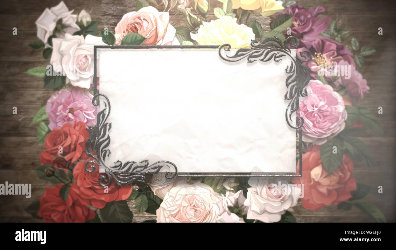 Closeup Vintage Frame With Flowers Wedding Background Elegant And Luxury Pastel Style 3d Illustration Stock Photo Alamy