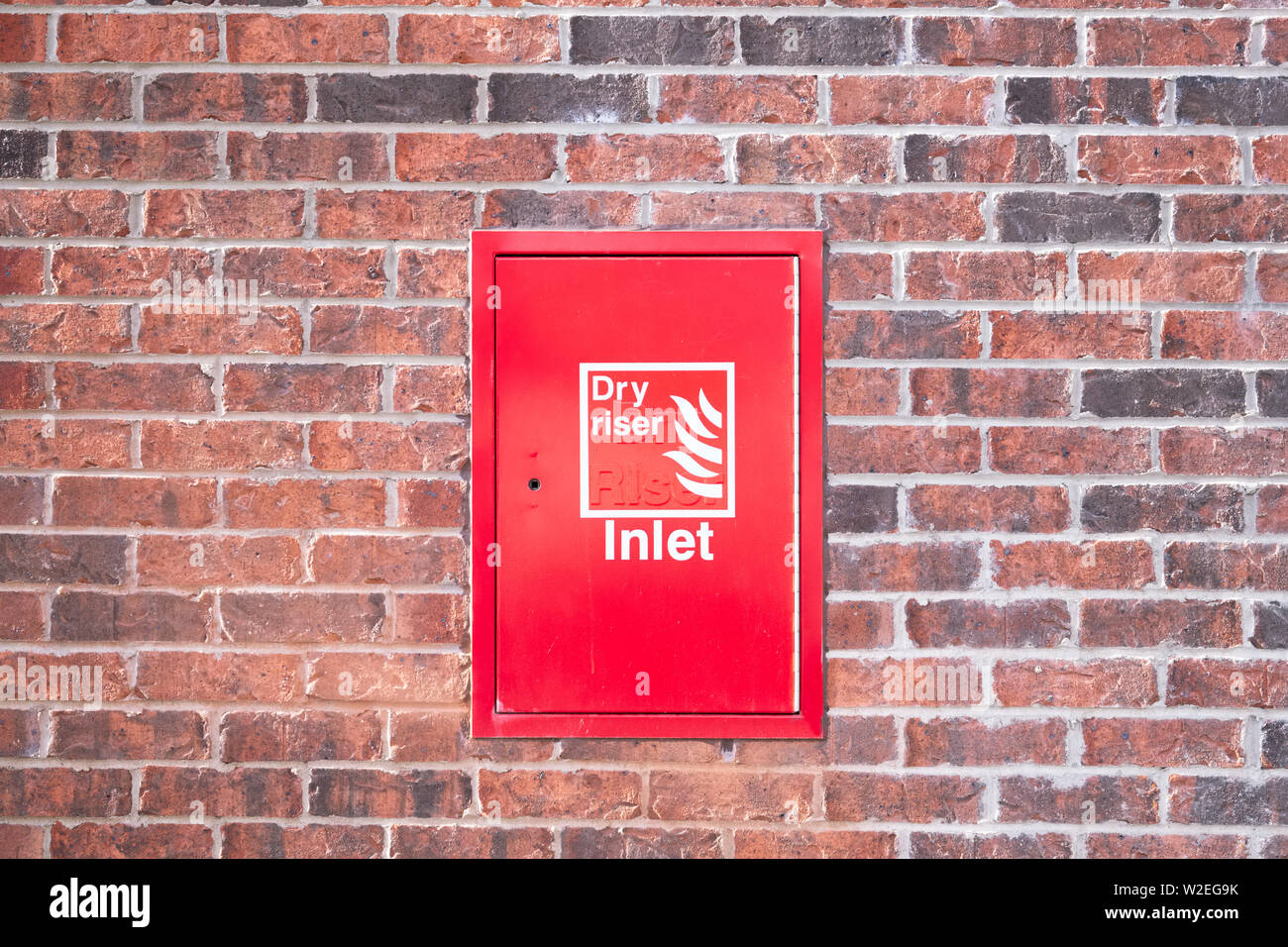 Dry riser red inlet box cover - Stock Image