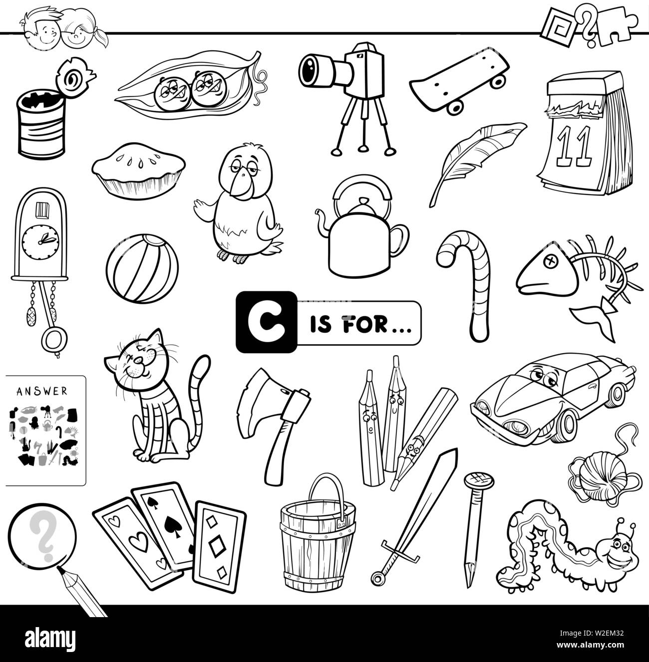 black and white cartoon illustration of finding picture starting with letter c educational game. Black Bedroom Furniture Sets. Home Design Ideas