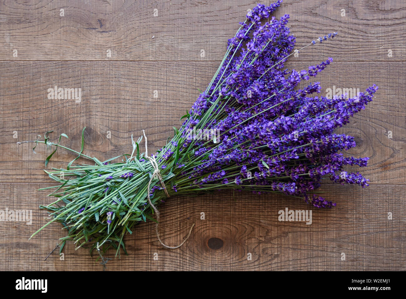 bunch of lavender on brown wood, isolated flower - Stock Image