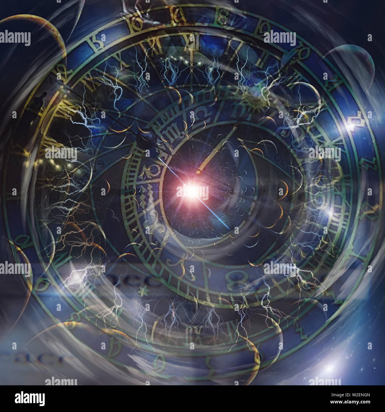 Ancient zodiac clock and shining star. Wheels of time - Stock Image