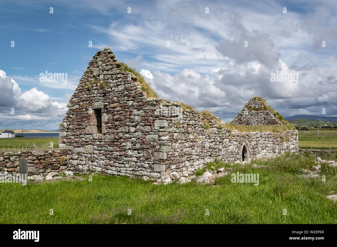 These are the ruins of an old stone Irish church in County Mayo in Ireland Stock Photo