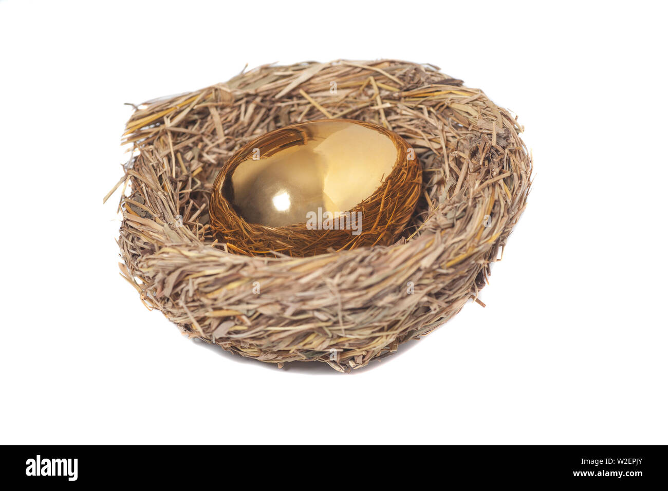 Golden egg in bird nest on white - Stock Image