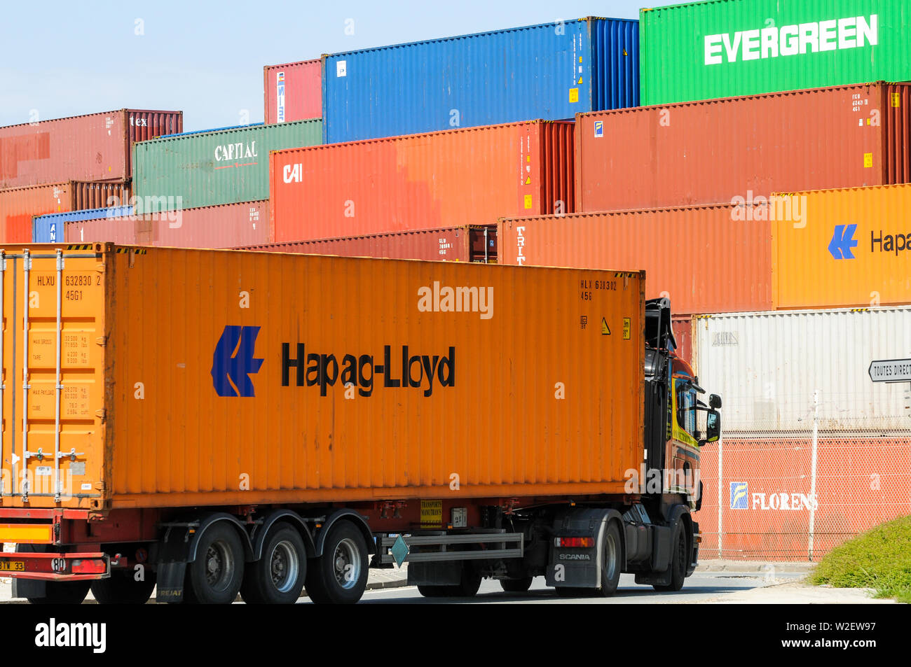 Shipping containers, Industrial harbor, Le Havre, Seine-Maritime, Normandy, France - Stock Image