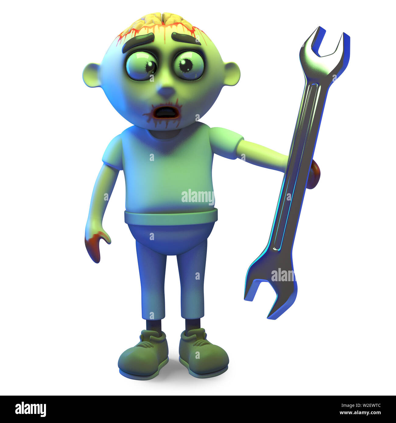 Silly zombie monster has a spanner and wants to help, 3d illustration render Stock Photo
