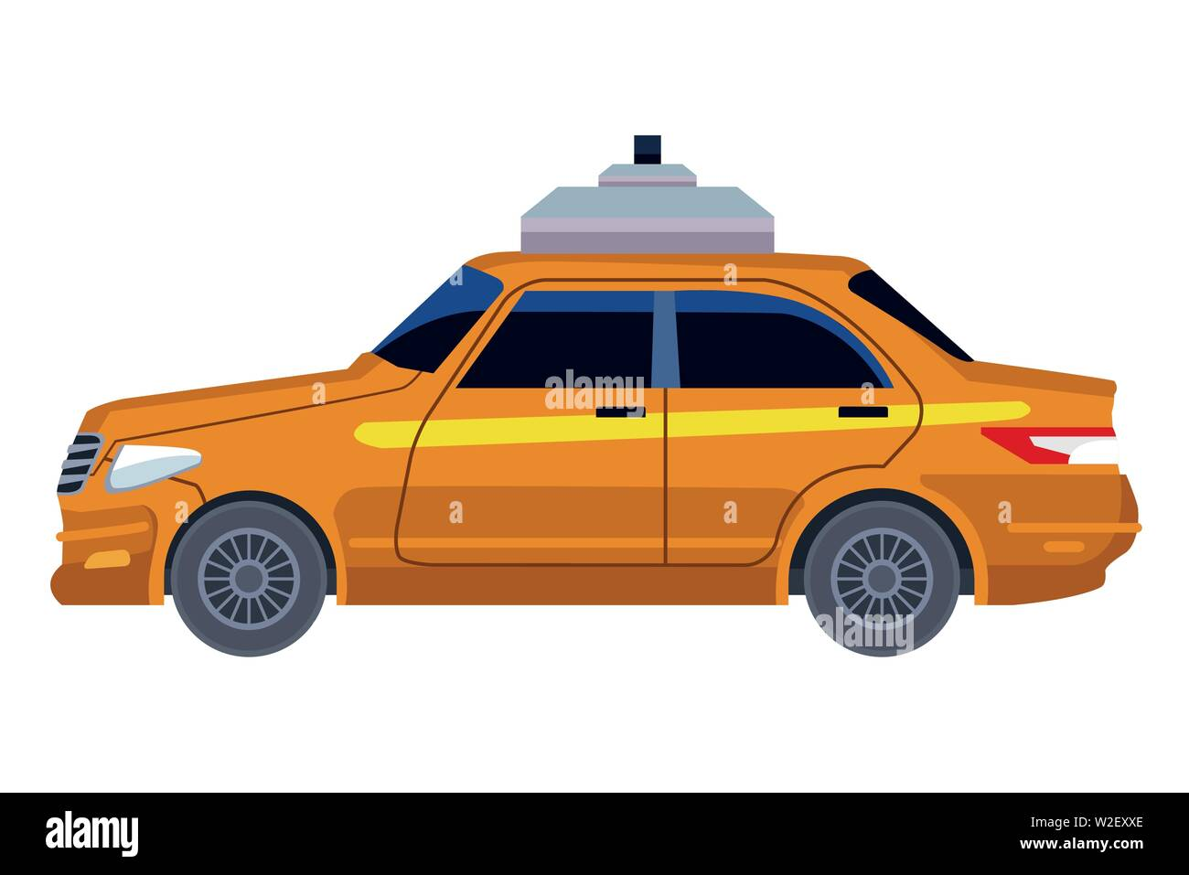 taxi cab car icon cartoon - Stock Image
