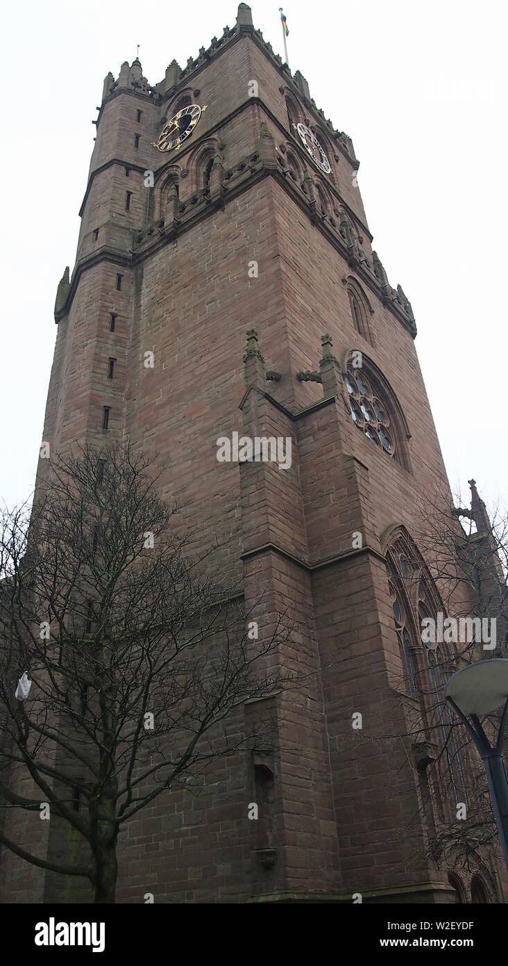 The Old Steeple, Dundee, Scotland. View looking up north east corner. - Stock Image