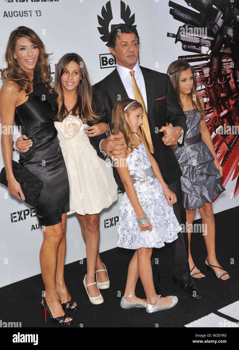 LOS ANGELES, CA. August 03, 2010: Sylvester Stallone & wife Jennifer Flavin & daughters at the world premiere of his new movie 'The Expendables' at Grauman's Chinese Theatre, Hollywood. © 2010 Paul Smith / Featureflash - Stock Image