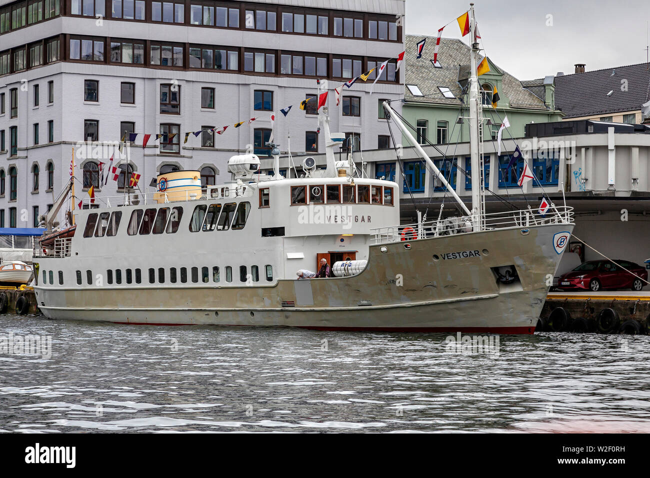Old passenger vessel Vestgar (built 1957) in the port of Bergen, Norway. - Stock Image