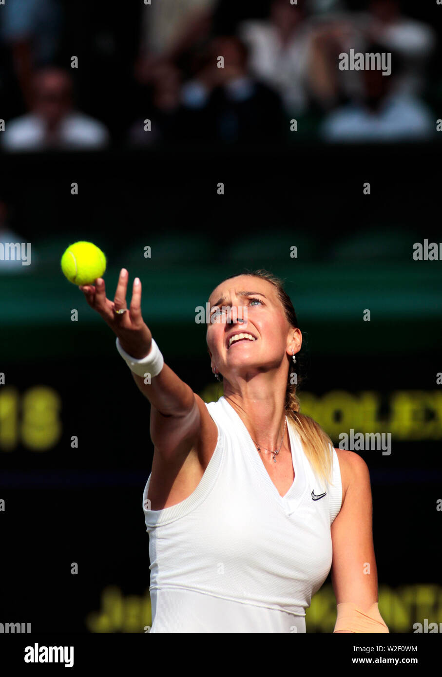 Wimbledon, 8 July 2019 - Petra Kvitova serving during her fourth round match against Johanna Konta on Center Court at Wimbledon today.  Kota won the match in three sets. Credit: Adam Stoltman/Alamy Live News - Stock Image