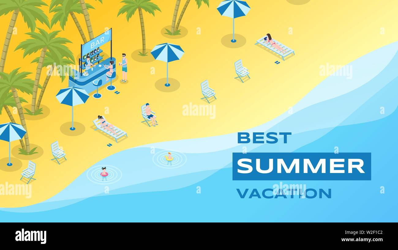Summer vacation flat banner vector template. Summertime leisure, exotic resort, seasonal recreation poster concept. Sand beach with cocktail bar and tourists isometric illustration with typography Stock Vector