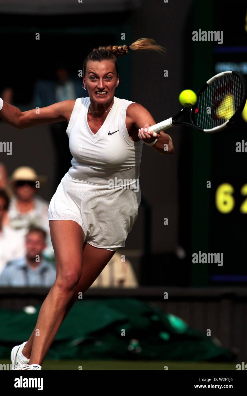 Wimbledon, 8 July 2019 - Petra Kvitova during her fourth round match against Johanna Konta on Center Court at Wimbledon today.  Kota won the match in three sets. Credit: Adam Stoltman/Alamy Live News - Stock Image