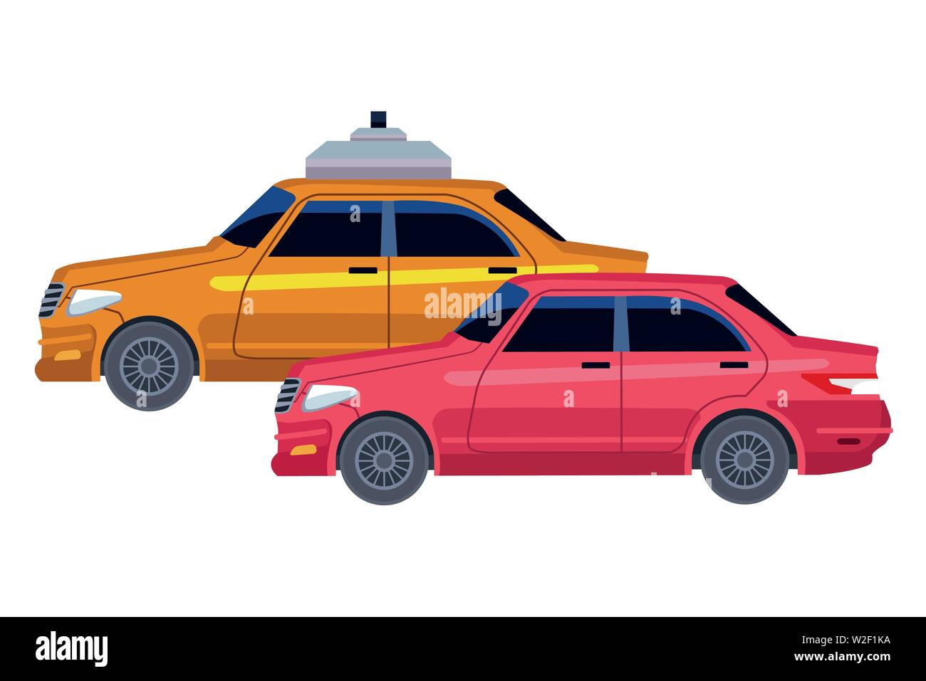 taxicab and vehicle icon cartoon - Stock Image