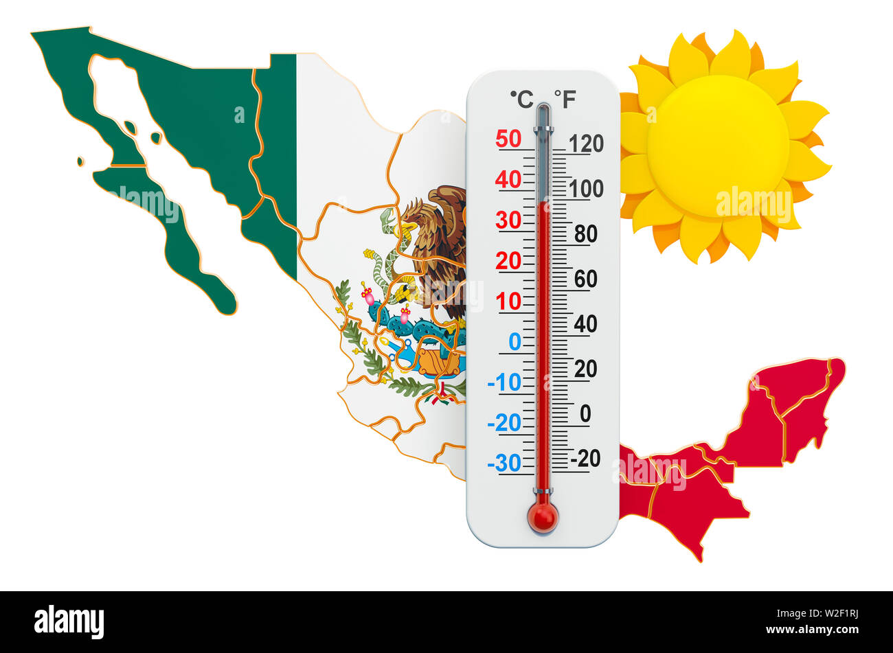 Heat in Mexico concept. 3D rendering isolated on white background - Stock Image