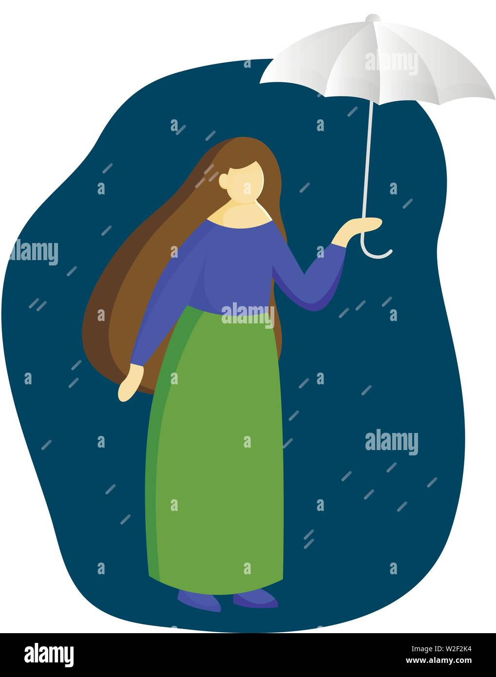 A woman in full growth standing under an umbrella. Profile of a girl. Vector flat illustration Stock Vector