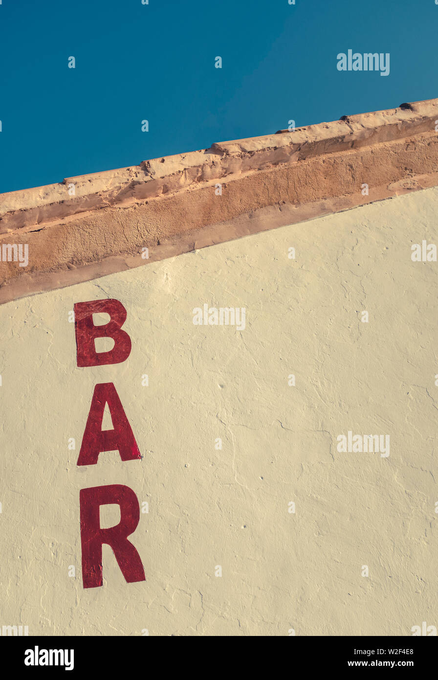 A Rustic Sign For A Bar In The American Southwest With Copy Space Stock Photo