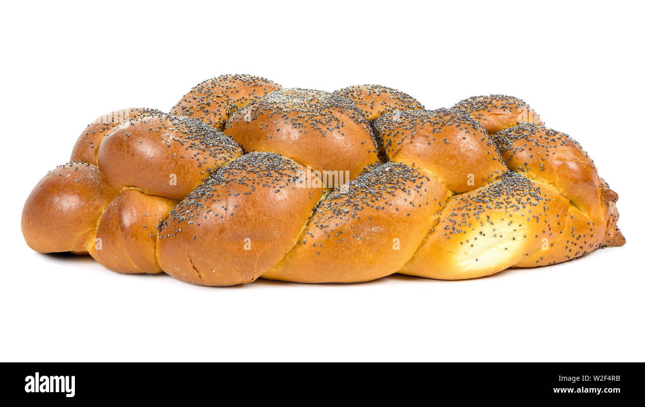 Fresh whole challah bread isolated on white background with clipping path Stock Photo