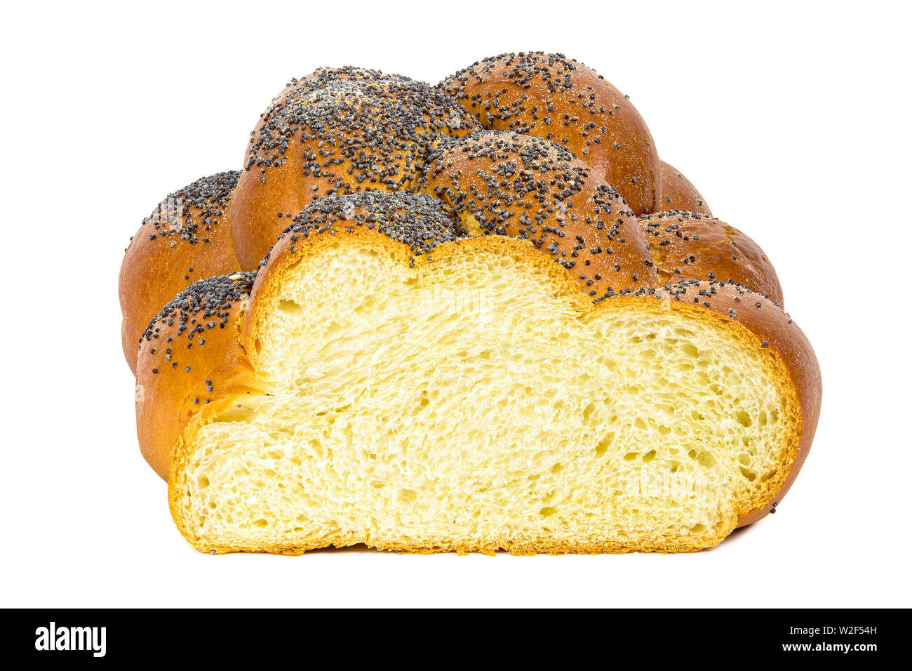 Fresh sliced challah bread isolated on white background with clipping path Stock Photo