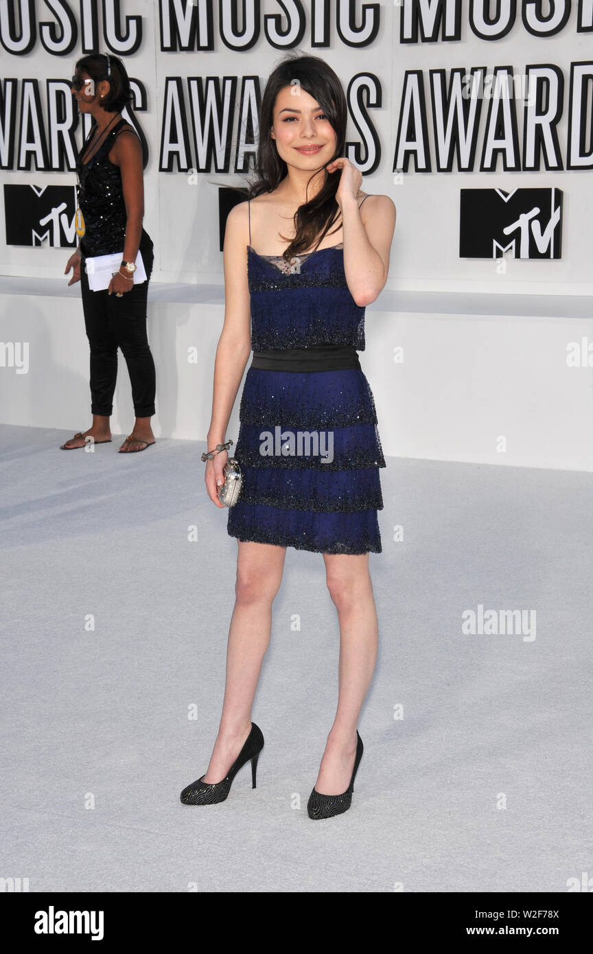 LOS ANGELES, CA. September 13, 2010: Miranda Cosgrove at the 2010 MTV Video Music Awards at the Nokia Theatre L.A. Live in downtown Los Angeles. © 2010 Paul Smith / Featureflash - Stock Image
