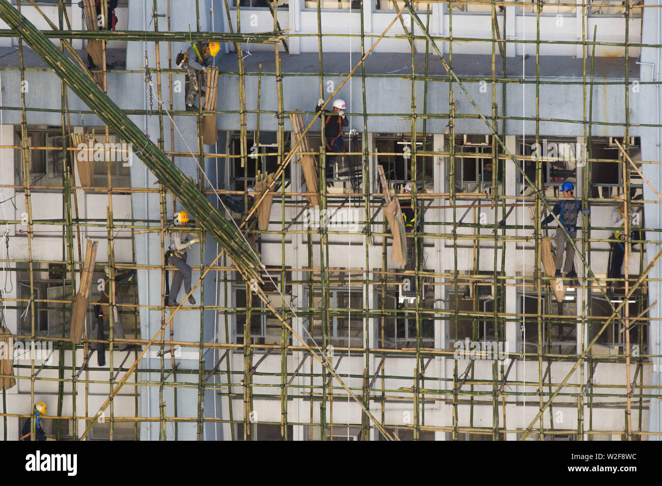 Construction workers building traditional bamboo scaffolding - Stock Image