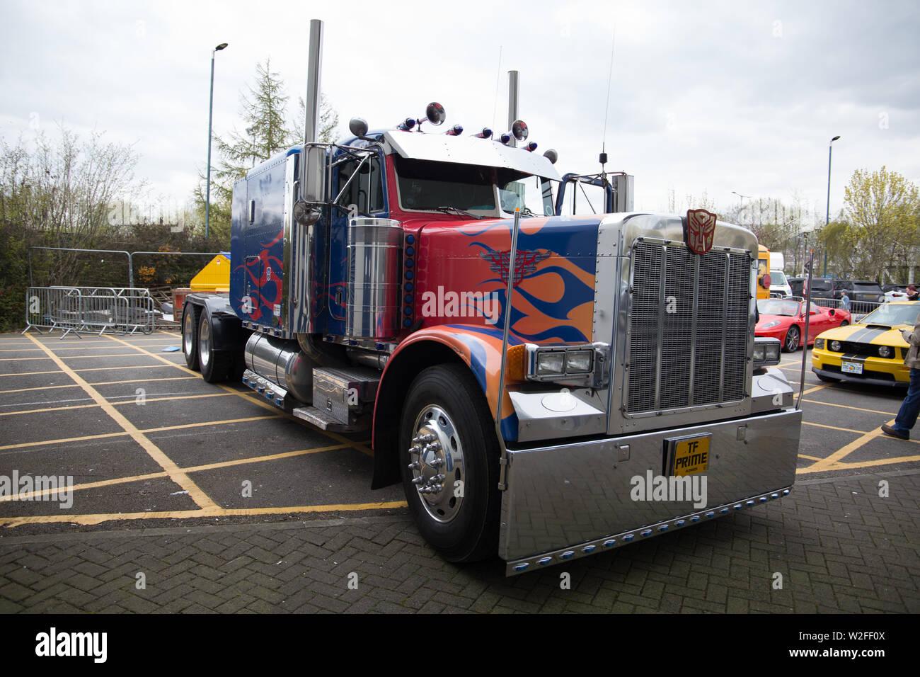 optimus primeat stars & cars Bolton uk - Stock Image