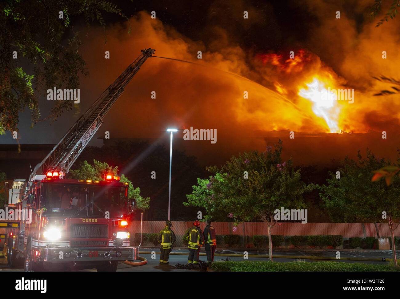 Modesto, CA, USA  8th July, 2019  One of 5 ladder trucks from