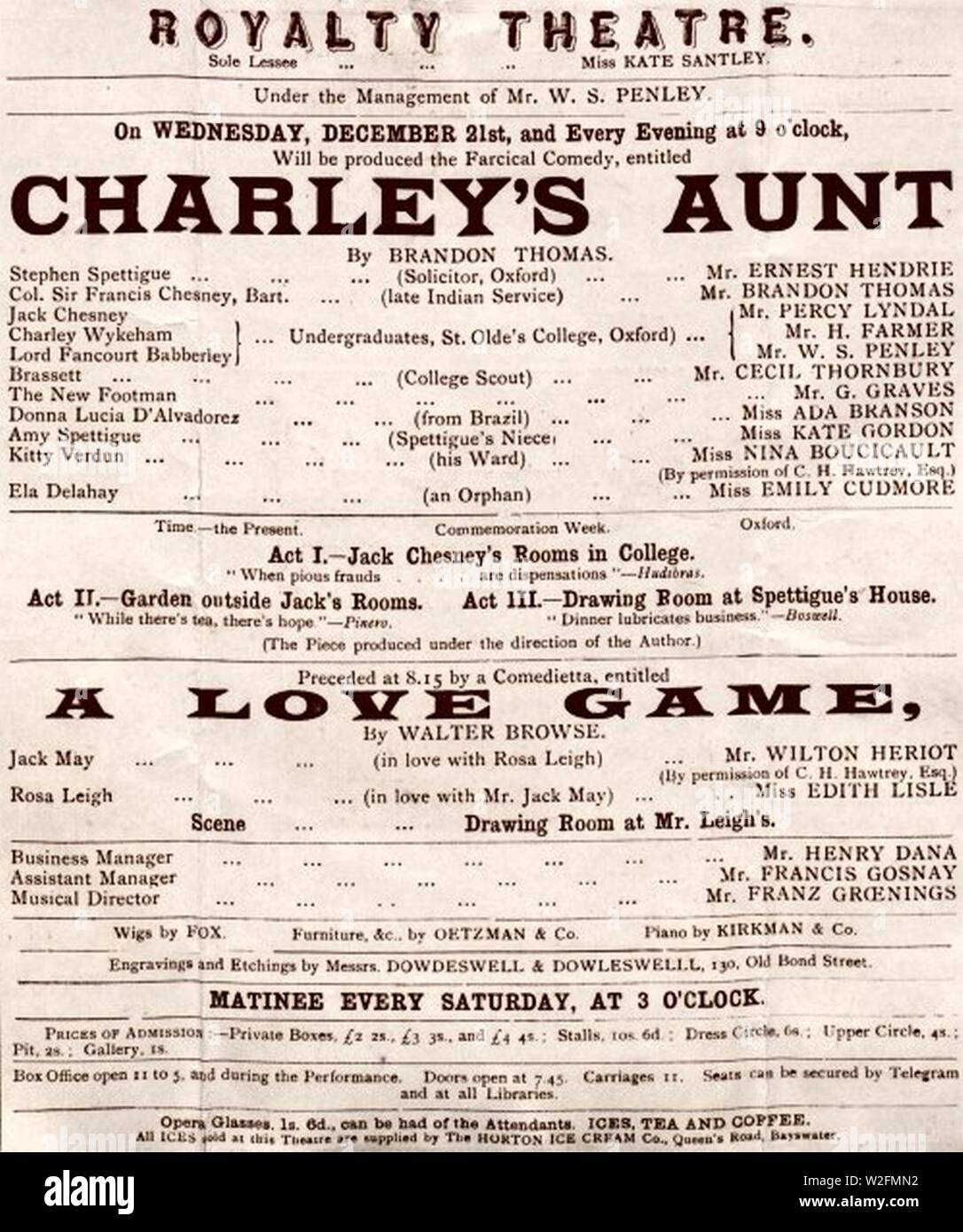 Charley's Aunt Royalty Dec 1892. Stock Photo